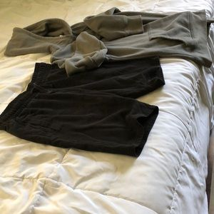 H&M Black shorts and gray hoodie